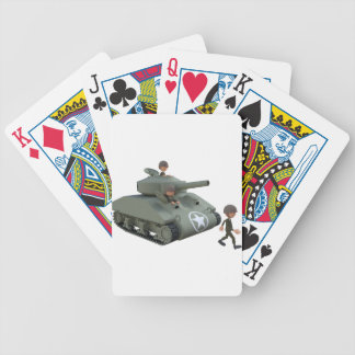 Cartoon Tank and Soldiers Going Forward Bicycle Playing Cards