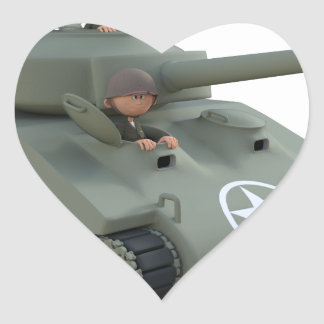 Cartoon Tank and Soldiers Going Forward Heart Sticker