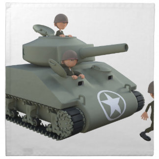 Cartoon Tank and Soldiers Going Forward Napkin