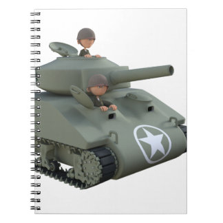 Cartoon Tank and Soldiers Going Forward Notebook