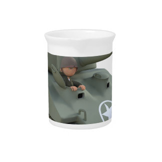 Cartoon Tank and Soldiers Going Forward Pitcher