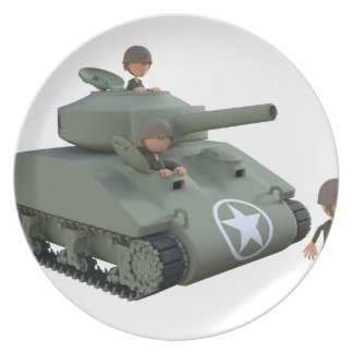 Cartoon Tank and Soldiers Going Forward Plate
