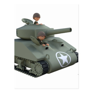 Cartoon Tank and Soldiers Going Forward Postcard
