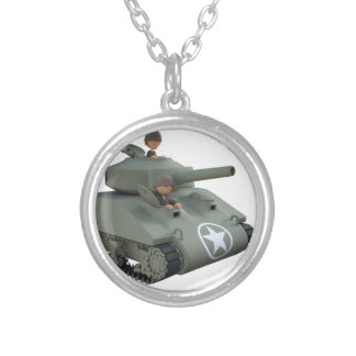 Cartoon Tank and Soldiers Going Forward Silver Plated Necklace