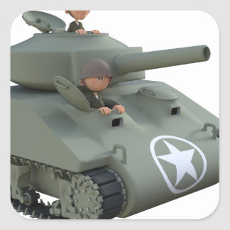 Cartoon Tank and Soldiers Going Forward Square Sticker