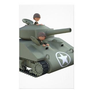 Cartoon Tank and Soldiers Going Forward Stationery