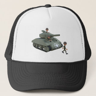 Cartoon Tank and Soldiers Going Forward Trucker Hat