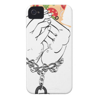 Cartoon Tasty Pizza and Hands2 iPhone 4 Case-Mate Cases