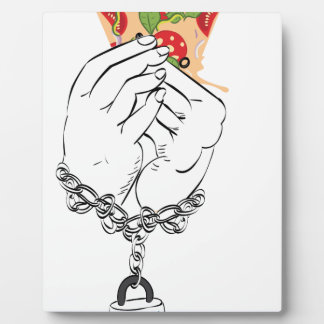 Cartoon Tasty Pizza and Hands2 Plaque