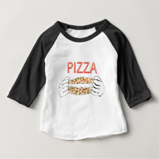 Cartoon Tasty Pizza and Hands3 Baby T-Shirt