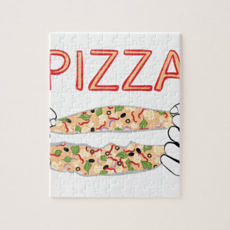 Cartoon Tasty Pizza and Hands3 Jigsaw Puzzle