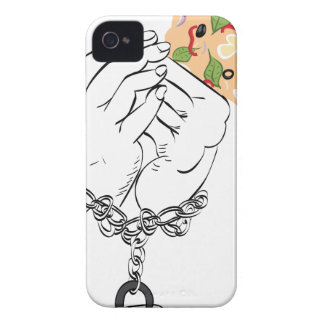 Cartoon Tasty Pizza and Hands Case-Mate iPhone 4 Cases