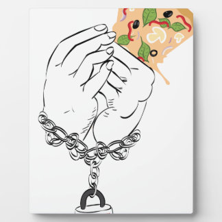 Cartoon Tasty Pizza and Hands Plaque