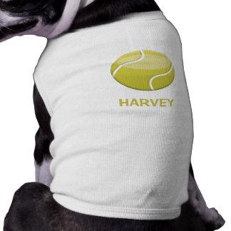 Cartoon Tennis Ball And Pet's Name Sleeveless Dog Shirt
