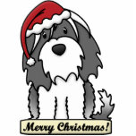Cartoon Tibetan Terrier Christmas Ornament Acrylic Cut Out
