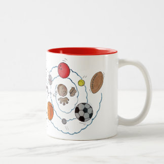 Cartoon toddler boy dreaming of sport's balls mugs