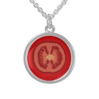 Cartoon Tomato Slice Round Pendant Necklace