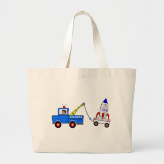 Cartoon Tow Truck and Driver Jumbo Tote Bag
