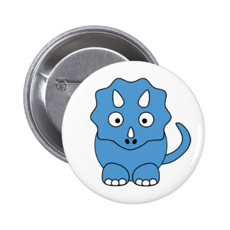 Cartoon Triceratops (blue) 6 Cm Round Badge