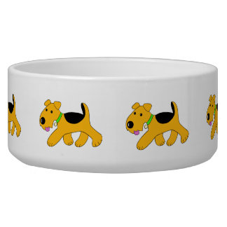 Cartoon Trotting Airedale Terrier Dog Bowl (Large)