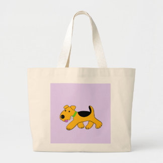 Cartoon Trotting Airedale Terrier Dog Tote