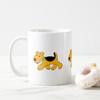 Cartoon Trotting Airedale Terrier Puppy Dog  Mug