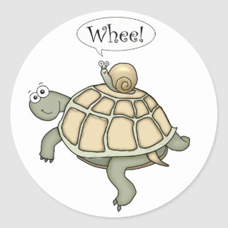 Cartoon turtle and snail Whee! Fun sticker gifts.
