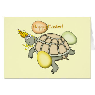 Cartoon turtle Easter bunny! Card
