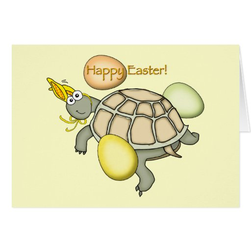 Cartoon turtle Easter bunny! Cards