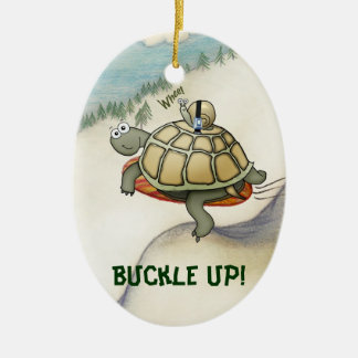 Cartoon turtle, snail on his back with seatbelt ceramic ornament