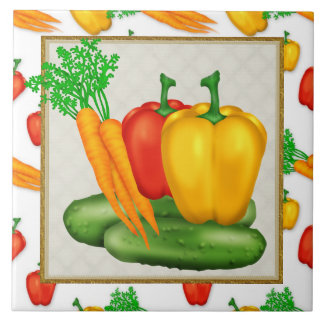 Cartoon Vegetable fun kitchen tile
