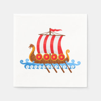 Cartoon Viking Ship Disposable Napkins