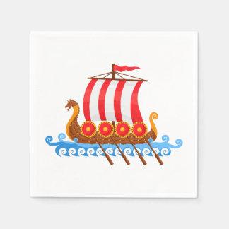 Cartoon Viking Ship Disposable Serviette