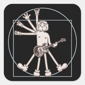 Cartoon Vitruvian Rocker Square Sticker