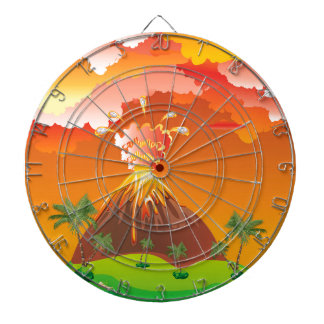 Cartoon Volcano Eruption 2 Dartboard