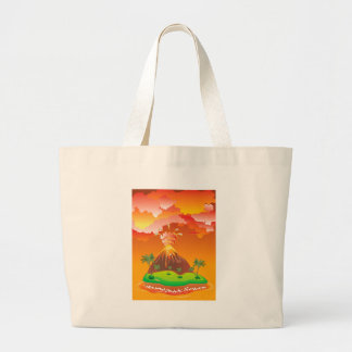 Cartoon Volcano Eruption 2 Large Tote Bag