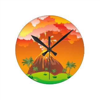 Cartoon Volcano Eruption 2 Round Clock