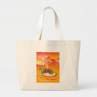 Cartoon Volcano Eruption Large Tote Bag