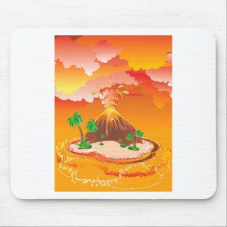Cartoon Volcano Eruption Mouse Pad