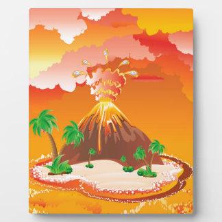 Cartoon Volcano Eruption Plaque