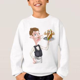 Cartoon Waiter and Thumbs Up Kebab Sweatshirt