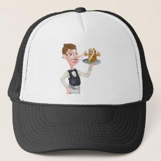 Cartoon Waiter and Thumbs Up Kebab Trucker Hat