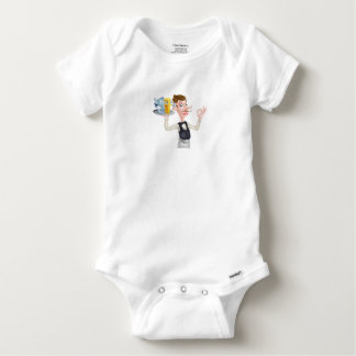 Cartoon Waiter Fish and Chip Mascots Baby Onesie