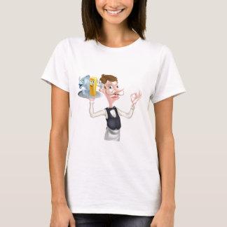Cartoon Waiter Fish and Chip Mascots T-Shirt