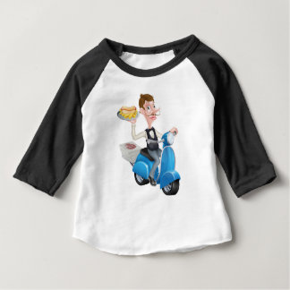 Cartoon Waiter on Scooter Moped Delivering Hotdog Baby T-Shirt