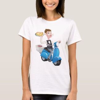 Cartoon Waiter on Scooter Moped Delivering Hotdog T-Shirt
