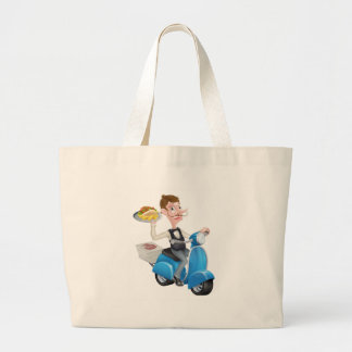 Cartoon Waiter on Scooter Moped Delivering Kebab Large Tote Bag