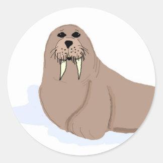 Cartoon Walrus Round Sticker