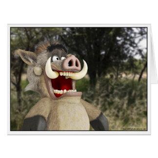 Cartoon Warthog Animal card
