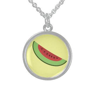 Cartoon Watermelon Slice Round Pendant Necklace